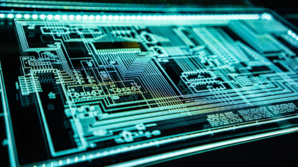 A up close shot of a lit up circuit board